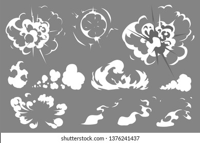 Vector smoke set special effects template. Cartoon steam clouds, puff, mist, fog, watery vapour or dust explosion 2D VFX illustration. Clipart element for game, print, advertising, menu and web design