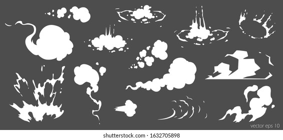 Vector smoke set special effects template. Cartoon steam clouds, puff, mist, fog, watery vapour or dust explosion 2D VFX illustration. Clipart element for game, print, advertising, menu and web de