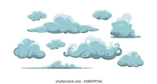 Vector smoke special effects template. Steam clouds, fog, watery vapour or dust explosion elements for game, print, advertising and web design