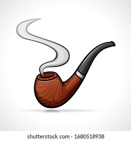 Vector smoking pipe isolated drawing