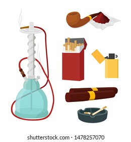 Vector smoking set - glass shisha, Turkish hookah with wooden pipe, cigarette pack and cigars. Ashtray and lighter in cartoon flat style