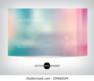 Vector smooth retro web banner, business card or flyer design. Blurry unfocused photographic vintage film effect with cross process, light leaks and bokeh lights. Soft and modern background.