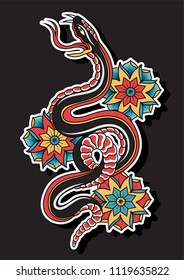 Vector Snake and Flowers Traditional Tattoo Art