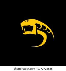 vector snake logo template. danger snake icon. viper orange silhouette isolated on black