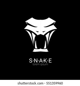 vector snake logo template. danger snake icon. viper white silhouette isolated on white
