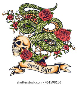 vector snake and skull tattoo design with banner and flower