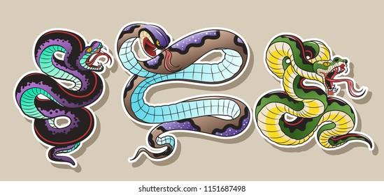 Vector Snakes Tattoo Art