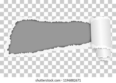 Vector snatched hole in sheet of transparent paper with soft shadow, paper curl and gray background. Paper mockup illustration.