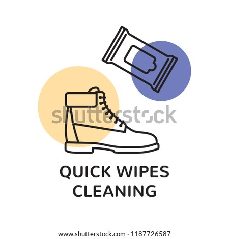 Vector Sneaker Cleaning Logo Design Template Trainer Clean Illustration With Quick Wipes On Background