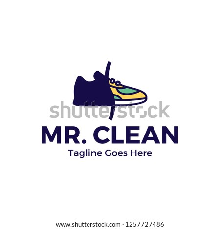 Vector Sneaker Cleaning Logo Design Template Color Outline Shoe Icon Of Processing Washing