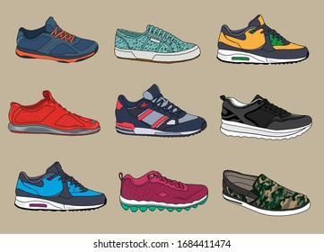 Vector sneakers shoes.  Training, running shoe vector illustration. Hand drawing vector hoes set.