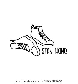 Vector sneakers for stickers, logo. Stay Home, work in home. Home quarantine, pandemic protection. Isolated and high resolution.