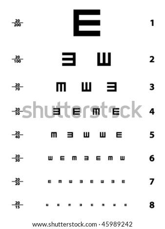 Vector Snellen Eye Test Chart Stock Vektorgrafik Lizenzfrei