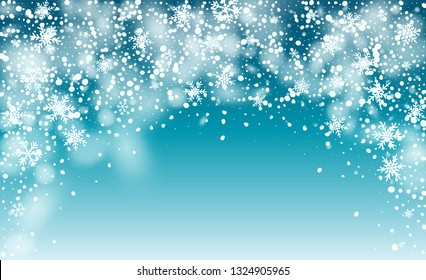 Vector Snow Background. Fantasy Holiday Vector Illustration. Realistic Falling Snow Background. Magic Blizzard Illustration Design.