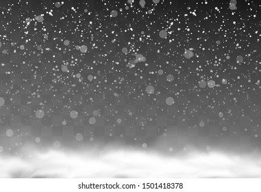 Vector snow background, snow flakes falling from the sky, isolated snowflakes falling on a transparent background, design elements for banners and cards