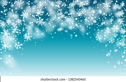 Vector Snow Background. Winter Holiday Illustration. Glitter Snowflakes Background. Magic Blizzard Illustration Design.