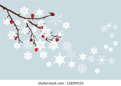 vector snow branch with red berries