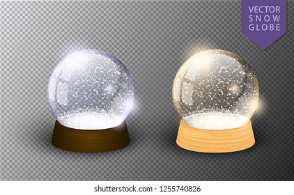 Vector snow globe empty template isolated on transparent background. Christmas magic ball. Glass ball dome, wooden stand. Realistic traditional winter holiday crystal, snow inside. Xmas toy sphere
