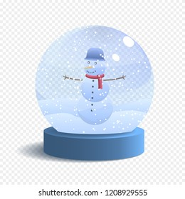 Vector Snow Globe Isolated on White Background. Realistic Glass Sphere with Falling Snow and Snowman. Vector Festive Illustration.