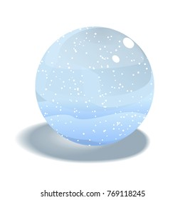 Vector Snow Globe Isolated on White Background. Realistic Glass Sphere with Falling Snow and Snow Hills. Vector Illustration.