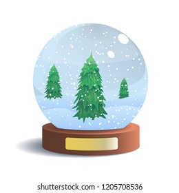 Vector Snow Globe with Metal Badge Isolated on White Background. Vector Illustration of Glass Sphere with Shadow. Realistic Ball with Snow and Fir Trees Inside. New Year and Christmas Gift.