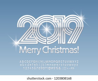 Vector snow Merry Christmas 2019 Greeting Card with Silver set of Letters, Symbols and Numbers. Stylish Shiny Font.