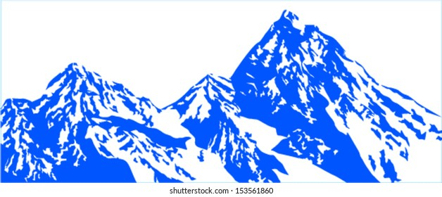 Vector snow mountains background  isolated on white