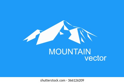 Vector snow mountains peak (Everest) logo. Can be used as sports badge, emblem of mineral water, tourism banner, travel icon, sign, decor... Blue background.