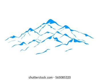 vector snow mountains peak logo alpine landscape outline illustration