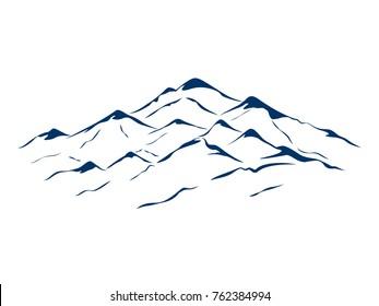 vector snow mountains peak logo landscape outline illustration