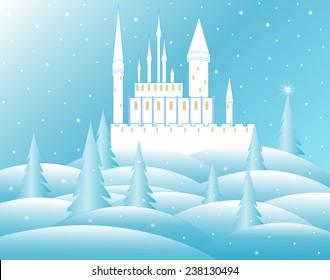 Vector snow queen's castle in frozen forest