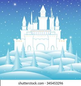 Vector snow queen's castle in frozen winter forest