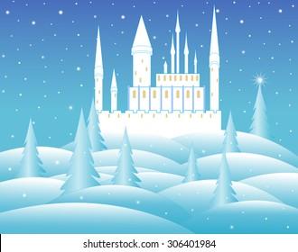 Vector snow queen's castle at night in frozen forest