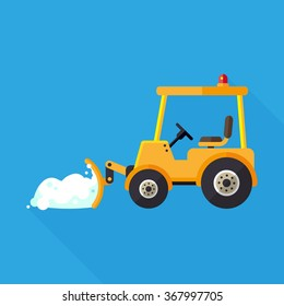 vector snow tractor with snowdrift in plow / flat icon / yellow on blue