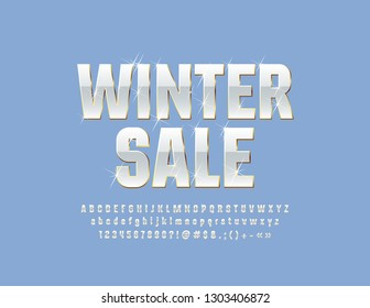 Vector snow white Emblem Winter Sale with sparkling Stars Font. Stylish Alphabet Letters, Symbols and Numbers.
