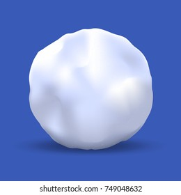Vector Snowball Isolated on Blue Background. Realistic Winter Snow Ball. Vector Illustration.