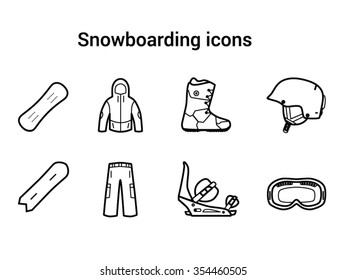 Vector snowboarding tools line icon set: helmet, mask, boots, snowboards and equipment.