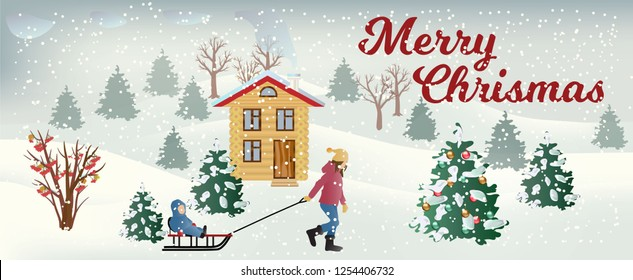 Vector snowfall landscape with mom, pulling sledges with her son, wooden house and smoke from its pipe, chrismas tree, bush with red berries, inscription Merry christmas. Christmas background.