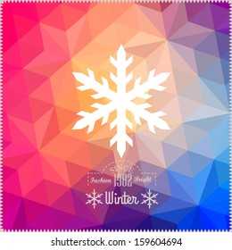 Vector snowflake. Abstract snowflake on geometric pattern. Snowflake sign. Christmas. New Year card illustration.Holiday design. Winter Backdrop. Retro pattern of geometric shapes. Hipster background