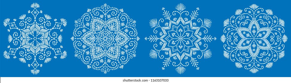 Vector snowflake embroidery set. Pattern for Christmas or New Year decoration. Background illustration for greeting card, banner and other holiday media.