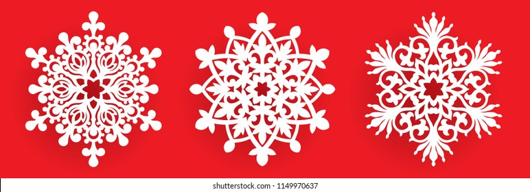 Vector snowflake laser cut template. Cutout pattern of Christmas or New Year decoration. Background illustration for greeting card, banner and other holiday media.