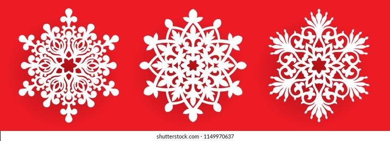 Wektor płatek śniegu laserowo wycinany szablon. Wzór wycięcia dekoracji Bożego Narodzenia lub Nowego Roku. Ilustracja tła do kartki okolicznościowej, banera i innych mediów wakacyjnych.