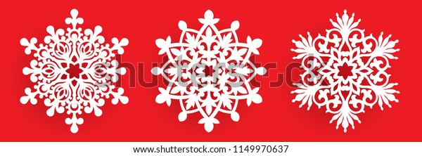 Christmas Cutout Patterns.Vector Snowflake Laser Cut Template Cutout Stock Vector