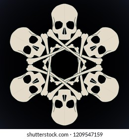 Vector snowflake made of skulls and bones in beige isolated over black background.