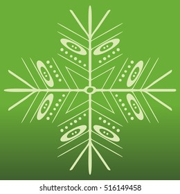 Vector snowflake on green background