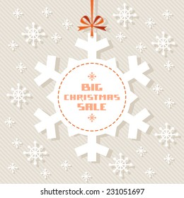 Vector snowflake tag - Christmas sale. Winter vintage background. Decorative illustration for print, web