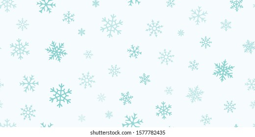 Vector snowflakes background. Simple Christmas and New Year seamless pattern with snow, different snowflakes on green background. Winter holidays theme. Design for decoration, banner, wallpapers, web