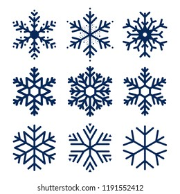 Vector snowflakes icons. Set of snowflakes texture for decoration