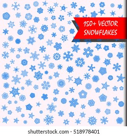 Vector snowflakes megaset. 150+ simple isolated snowflakes illustrations. Monochrome snow background. Every snowflake is unique. Heavy snowfall. Snowy winter christmas and new year holidays stock set.