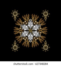 Vector with snowflakes on black background. Doodles pattern.
